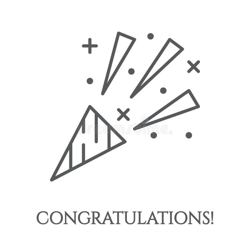 Язычок с значком confetti - элементом салюта поздравлению для поздравительной открытки или приглашения партии иллюстрация штока