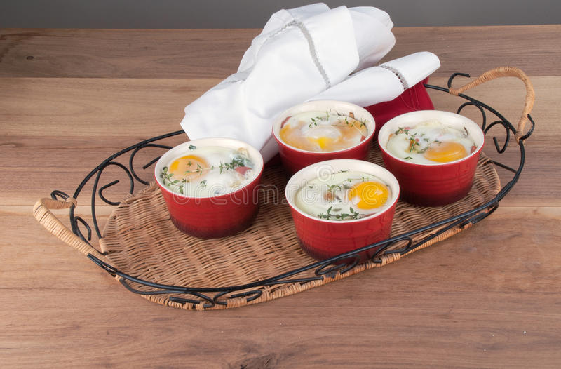 Яичка испекли с сметанообразными соусом, грибами, ветчиной, сыром и травами i стоковая фотография rf