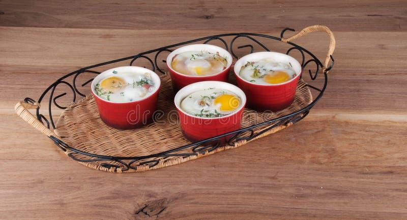 Яичка испекли с сметанообразными соусом, грибами, ветчиной, сыром и травами i стоковые изображения rf