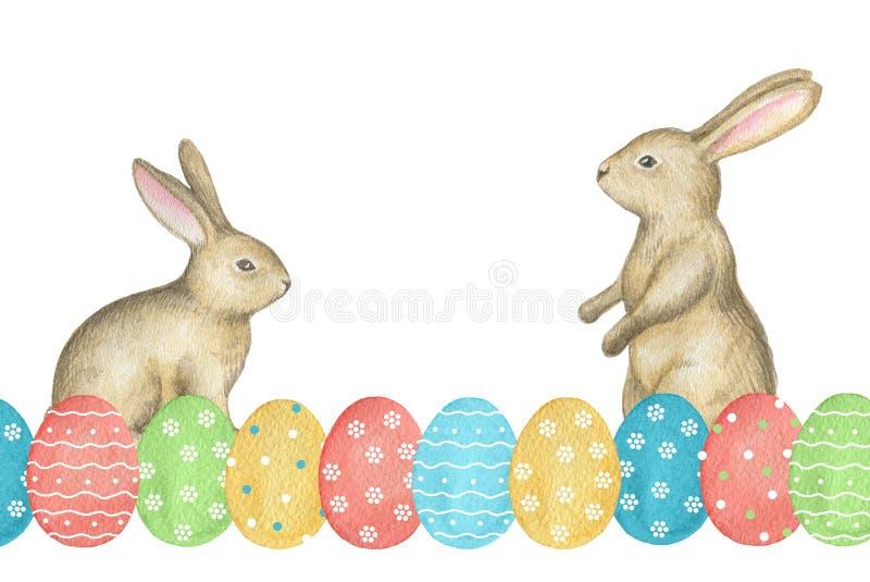 Яичка и зайчики акварели покрашенные пасхой бесплатная иллюстрация