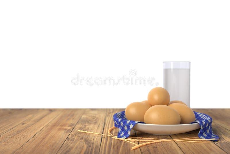 Яичка на голубом полотенце в керамическом шаре на деревянном столе с стеклом молока белизна изолированная предпосылкой иллюстрация вектора