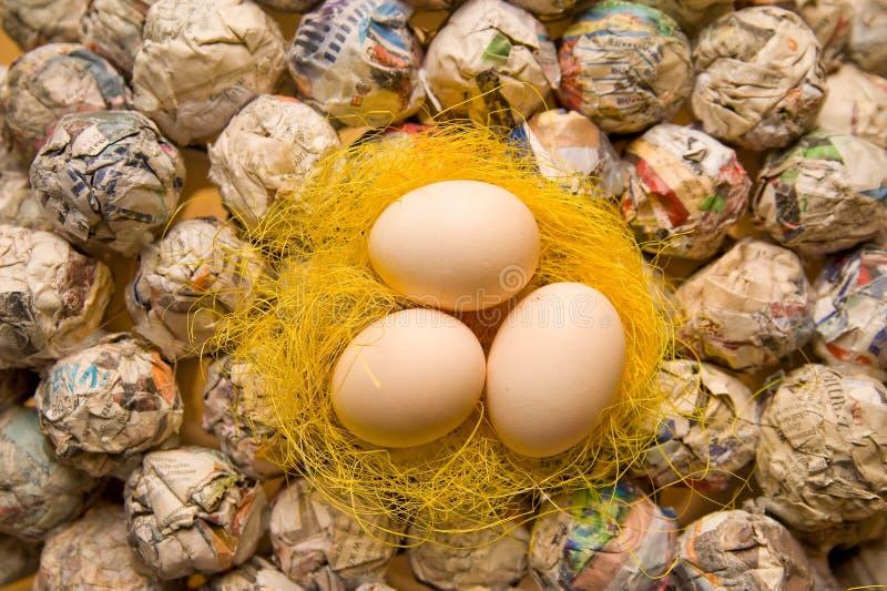 Яичка на желтом гнезде стоковые фото