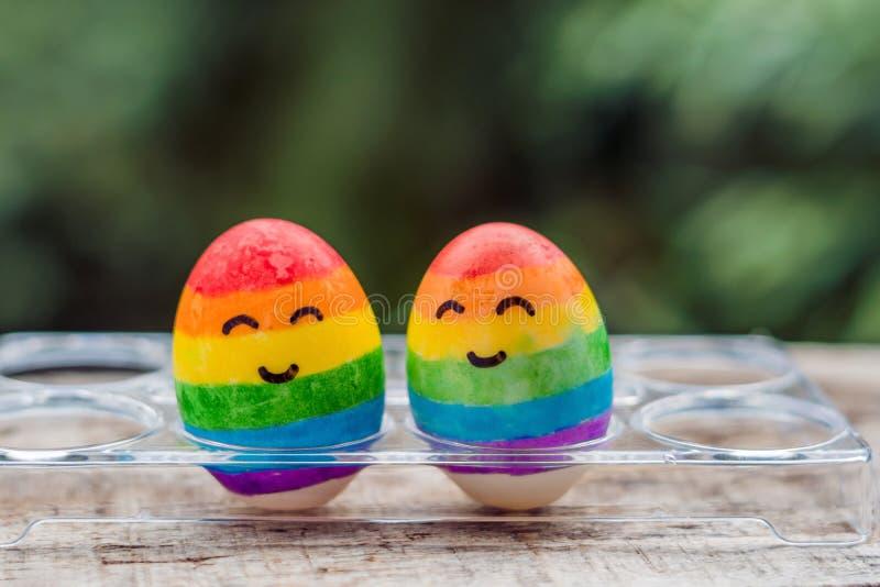 2 яичка покрашены в цветах радуги как флаг геев и лесбиянка так же, как пасхальных яя гомосексуалист принципиальной схемы стоковое фото