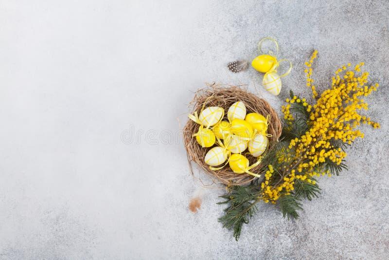 Яичка триперсток в гнезде и желтых цветках имеющееся приветствие архива пасхи eps карточки стоковые изображения rf