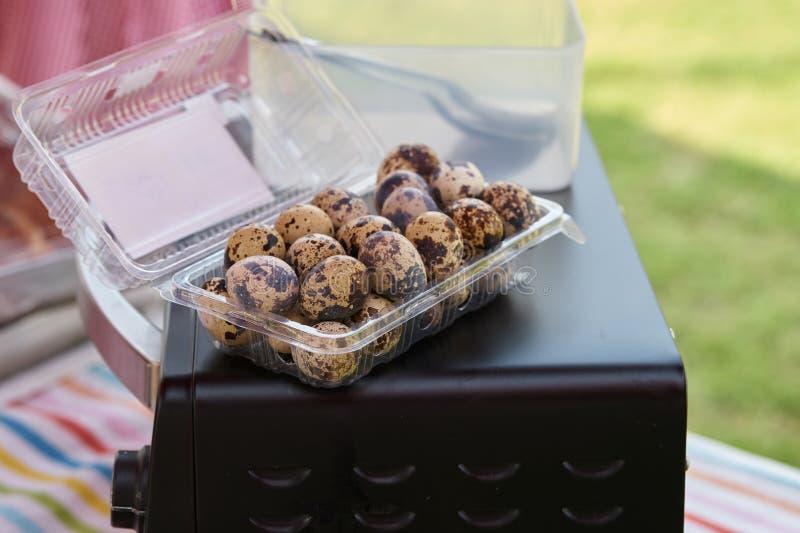 Яичка триперсток в пластичной коробке на печи покрывают стоковые фото