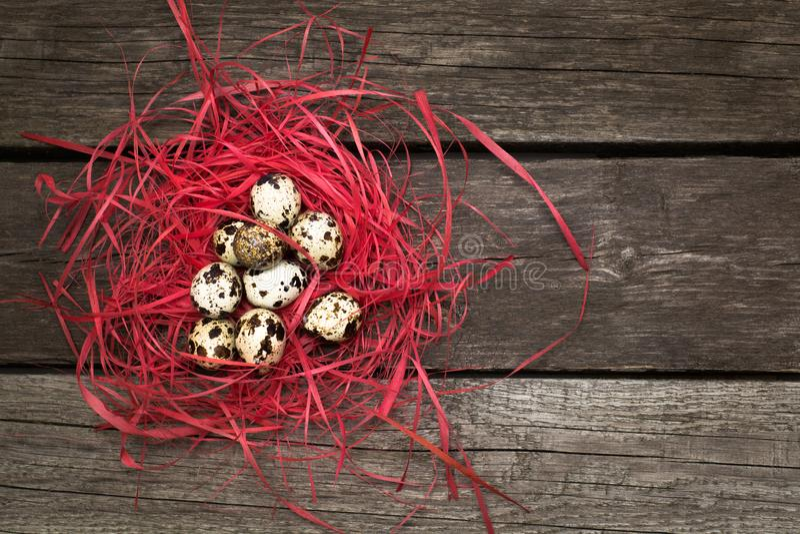 Яичка триперсток пасхи в декоративном гнезде на деревянной предпосылке Оформление пасхи стоковое фото rf