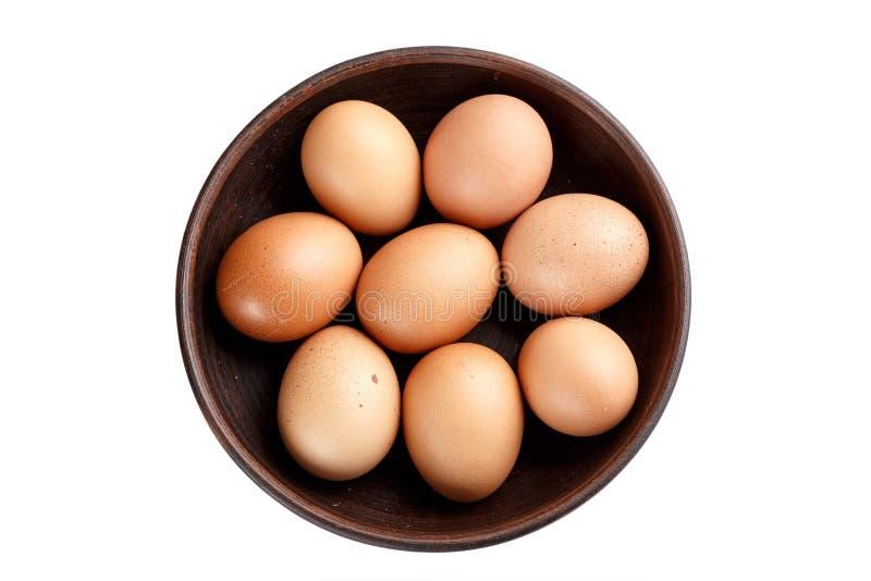 Яичка цыпленка в изолированной плите стоковое изображение rf