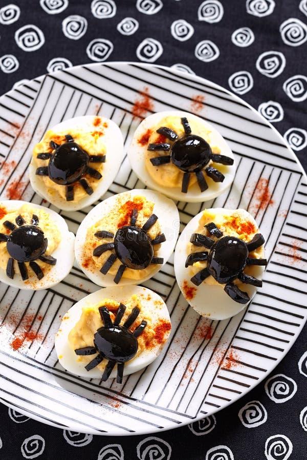 Яичка Deviled на хеллоуин стоковое фото