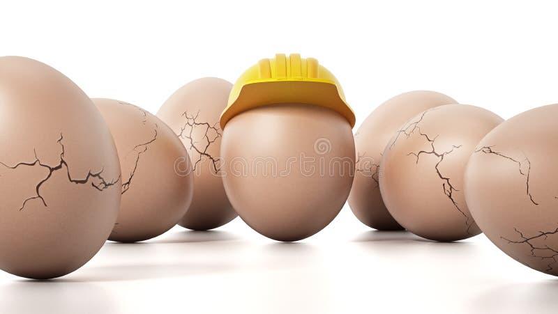 Яичко Брайна при желтый защитный шлем стоя вне среди треснутых яичек иллюстрация 3d иллюстрация вектора
