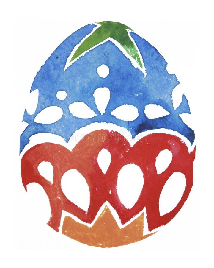 Яичко покрашенное акварелью Пасхальные яйца текстуры растра акварели стоковое фото rf