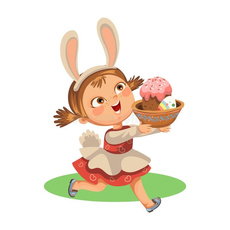 Яичко шоколада идущего звероловства улыбки маленькой девочки декоративное в ушах костюма зайчика пасхи и кабель vector иллюстраци иллюстрация штока