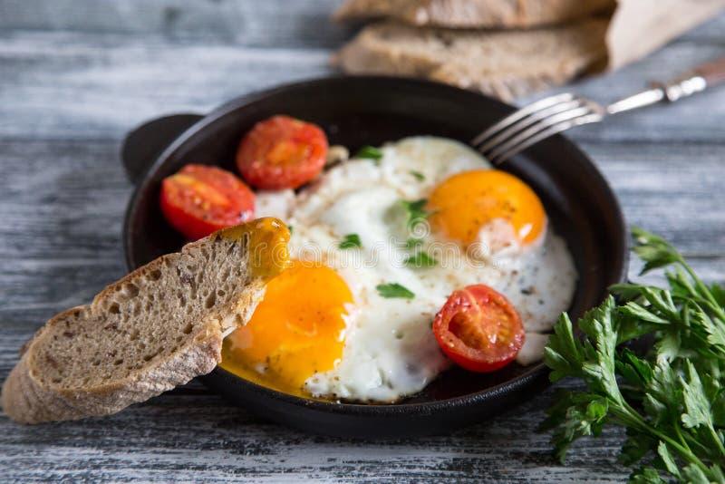 Яичница Близкий поднимающий вверх взгляд яичницы на сковороде с томатами и петрушкой вишни стоковое фото
