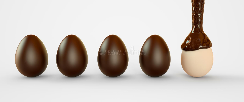 Яйца в шоколаде Пасхальные яйца 3d закрепляя легкую редактируя иллюстрацию архива включило перевод путя иллюстрация вектора