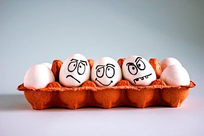 Яйца смешного цыпленка белые со сторонами в яйцеклетке стоковое фото