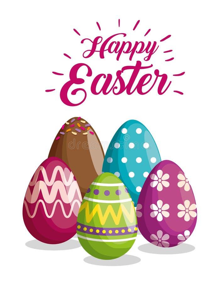 Яйца с диаграммами и украшение цветков к событию пасхи иллюстрация штока