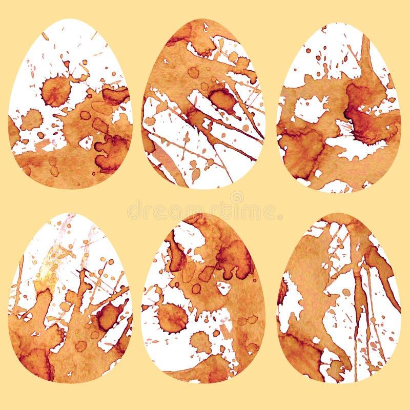 Яйца с пятнами кофе Различные душистые чертежи иллюстрация штока