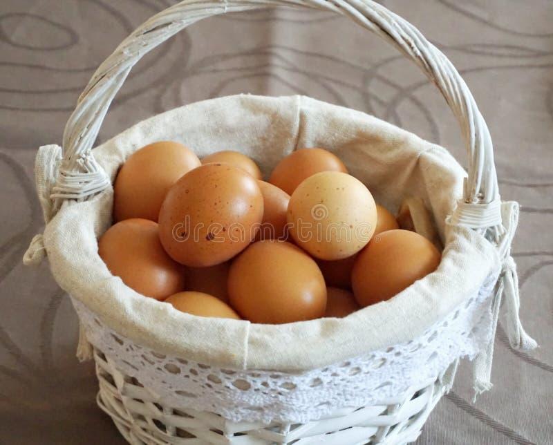 Яйца цыпленка в белой винтажной корзине стоковое фото rf
