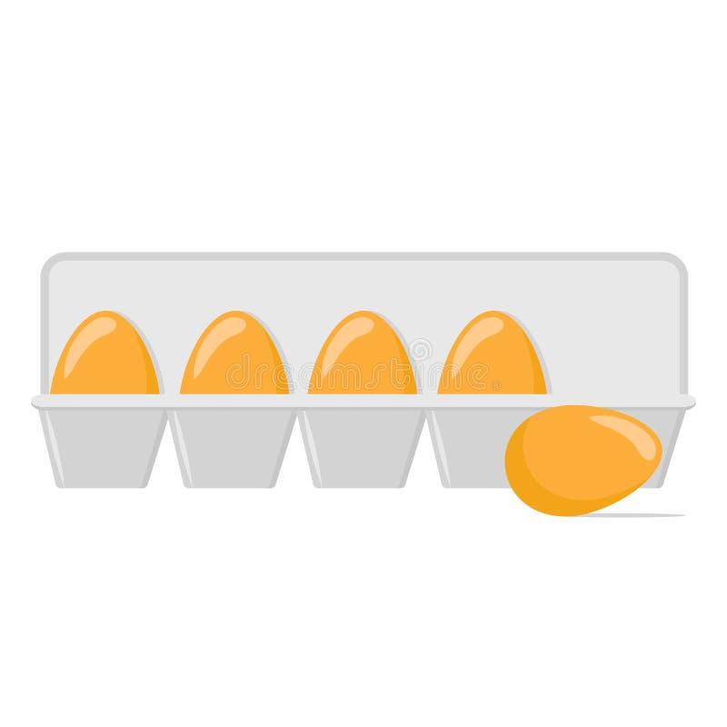 Яйца цыпленка в подносе на белом, иллюстрации вектора запаса бесплатная иллюстрация
