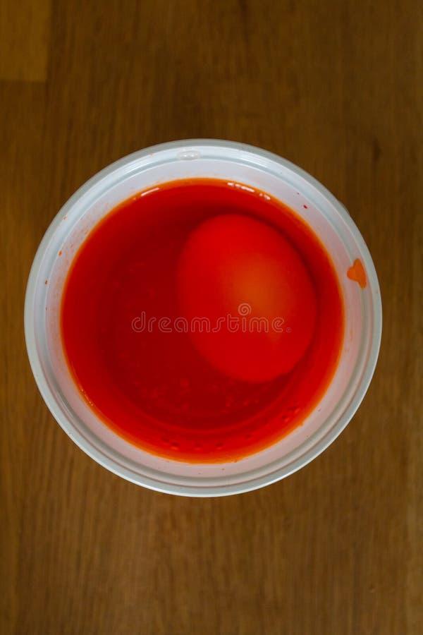 Яйцо в пластиковой чашке, который нужно получить покрашенный в красном цвете для пасхи стоковая фотография