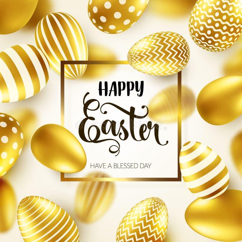 Яйцо пасхи золотое с каллиграфической литерностью, приветствиями Традиционные праздники весны в апреле или марте воскресенье Яичк бесплатная иллюстрация