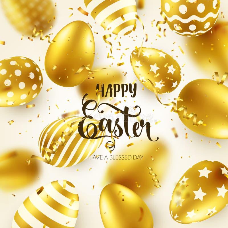 Яйцо пасхи золотое с каллиграфической литерностью, приветствиями Confetti и лента Традиционные праздники весны в апреле или иллюстрация вектора