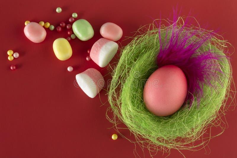 Яйцо пасхи красочное с красивым розовым пером в гнезде стоковое фото