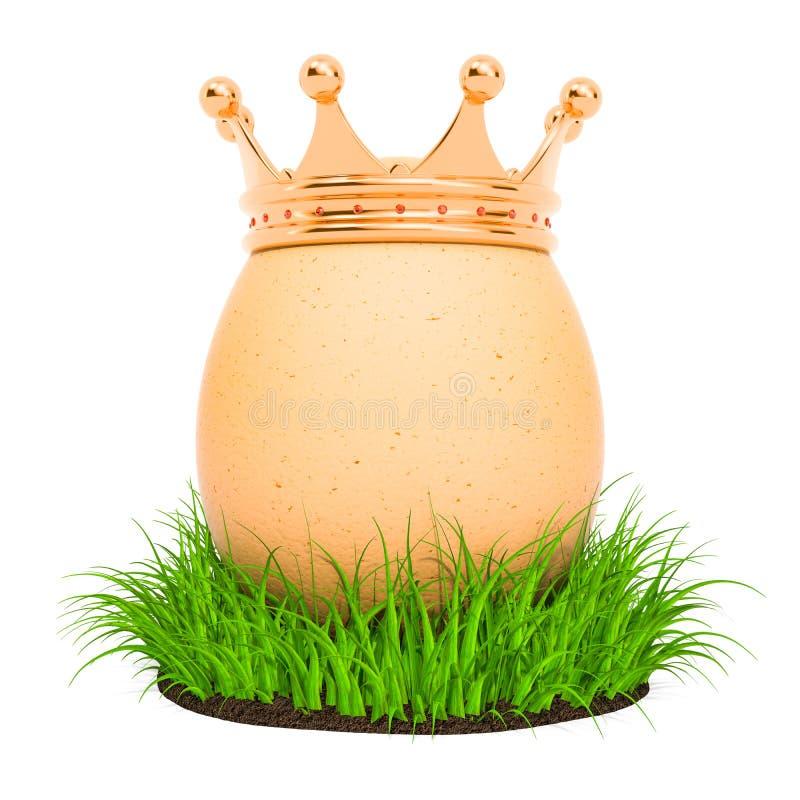 Яйцо с золотой кроной в зеленой траве, переводом 3D бесплатная иллюстрация