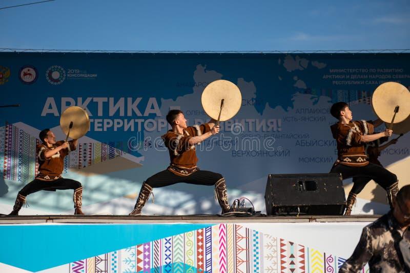 Якутск, Yakutia/Россия 21-ое мая 2019: Торжество важного события - включения 8 районов Yakutia в Arct стоковое изображение