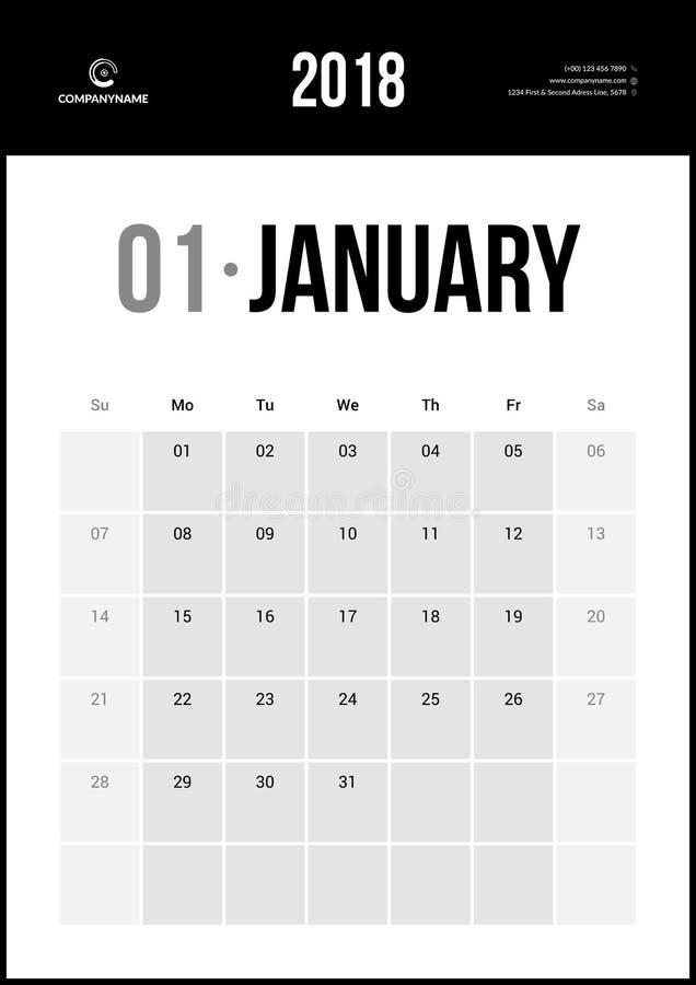 Январь 2018 Минималистский календарь стены иллюстрация вектора