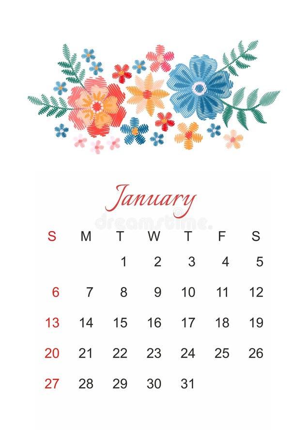 январь Шаблон календаря вектора на 2019 год с красивым составом цветков вышивки иллюстрация вектора