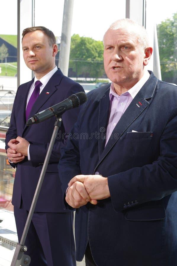 Январь Guz с Andrzej Duda, выбранным для офиса президента республики Польши стоковая фотография rf