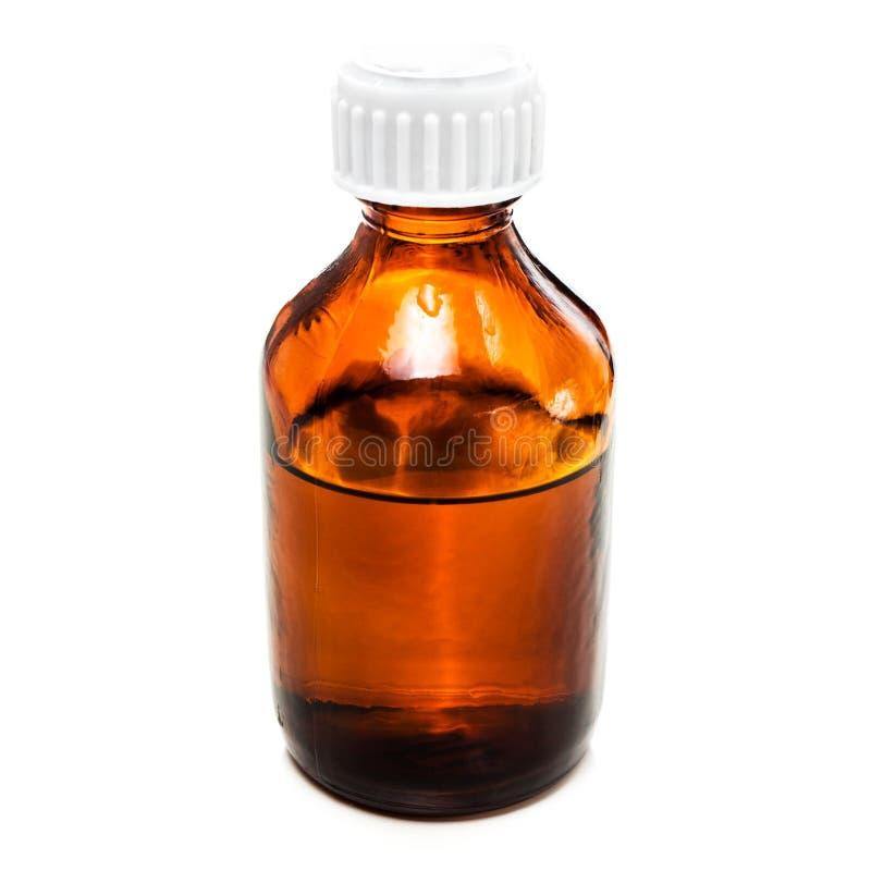 Янтарная бутылка капельницы с маслом, медициной или другим полезным liq стоковое фото