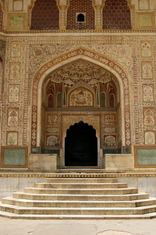 янтарный висок Индии форта входа к стоковые фотографии rf