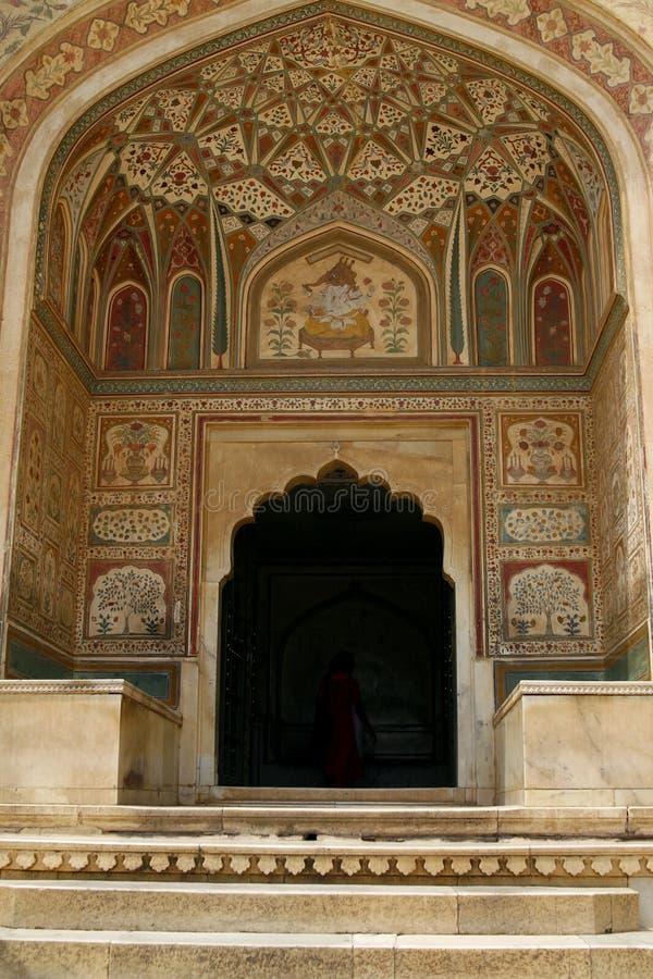 янтарный висок Индии форта входа к стоковая фотография rf