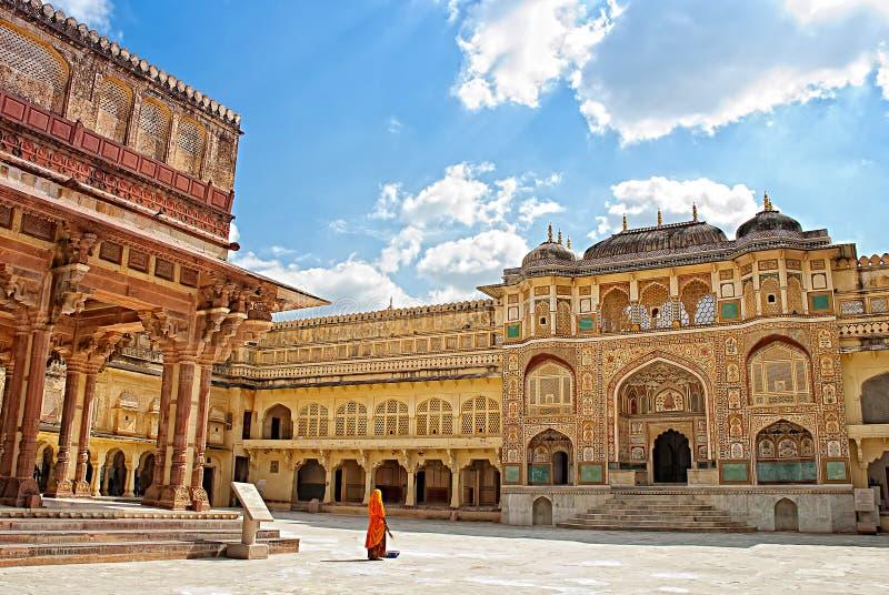 янтарный украшенный шлюз Индия jaipur форта детали янтарный форт Индия jaipur стоковые фотографии rf