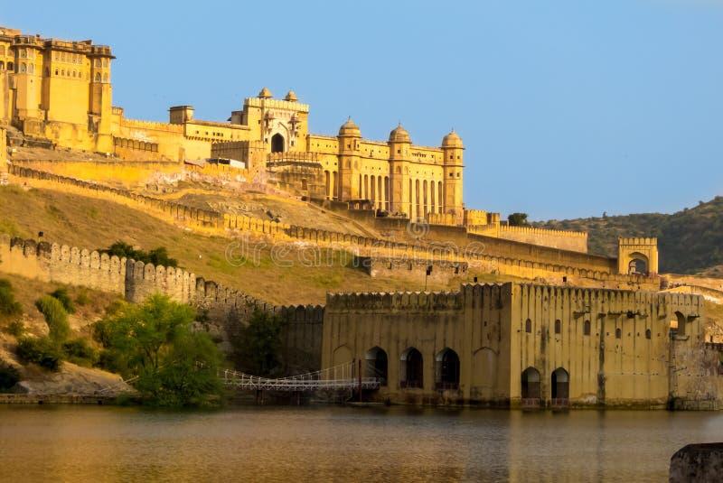 Янтарный форт в Джайпуре Индии Раджастхане стоковое изображение rf