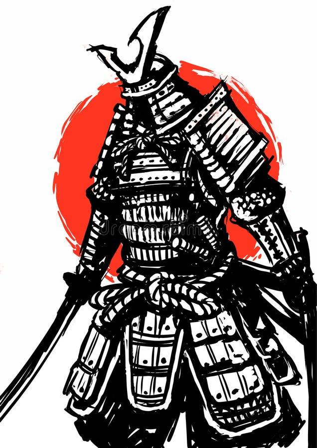 Японец воина самурая, иллюстрация стоковое фото rf
