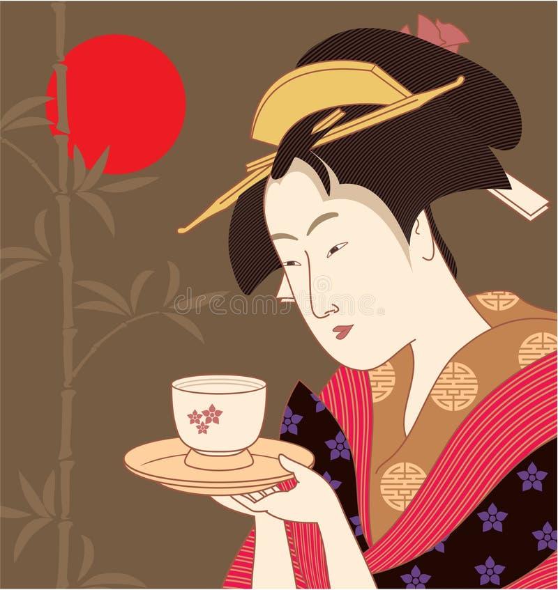 японец гейши иллюстрация вектора