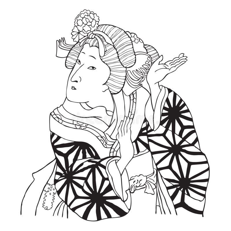 японец девушки танцы иллюстрация штока