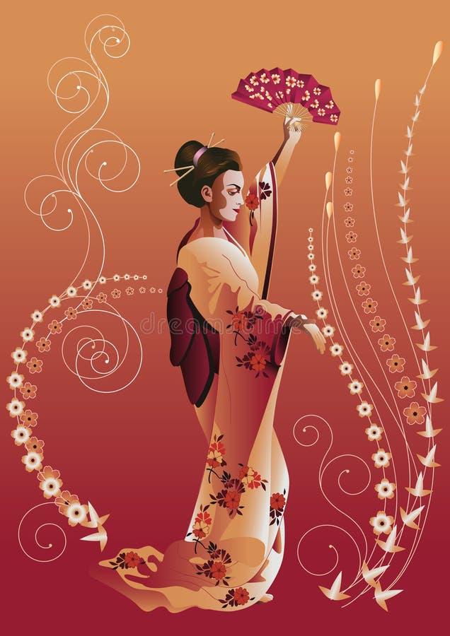 японец девушки иллюстрация вектора