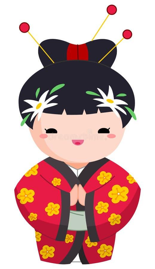 японец девушки иллюстрация штока