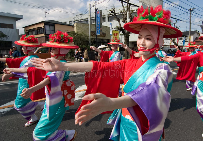 японец празднества танцоров стоковая фотография