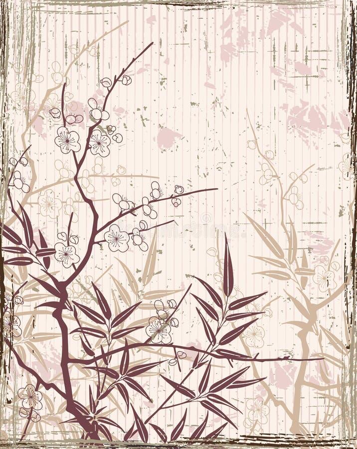 японец предпосылки флористический иллюстрация вектора