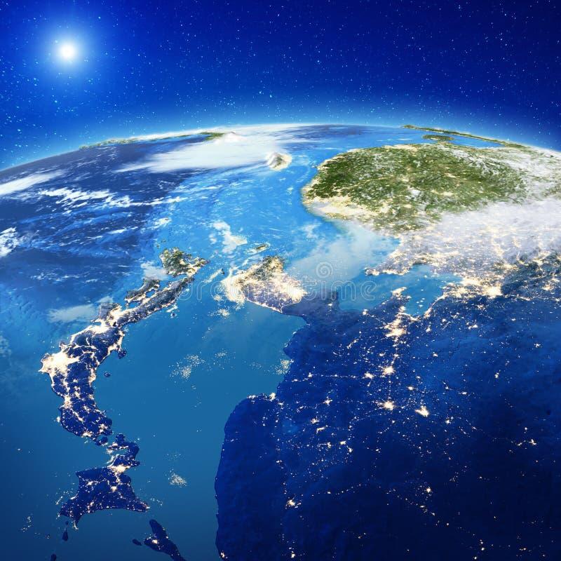 Япония и Южная Корея от космоса стоковые фотографии rf
