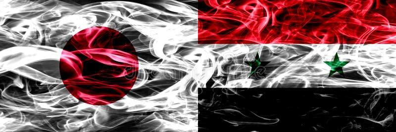 Япония против Сирии, сирийский дым сигнализирует помещенную сторону - мимо - сторона стоковое изображение rf
