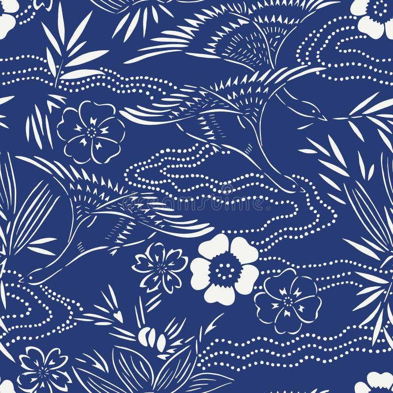 Японская безшовная картина с птицами и водой иллюстрация штока