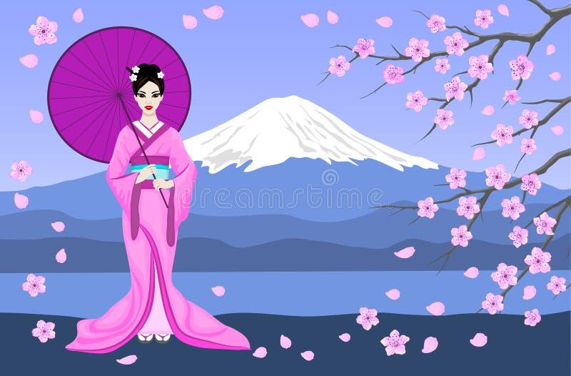 Японская гейша с горой Фудзи и ветвями Сакуры иллюстрация вектора
