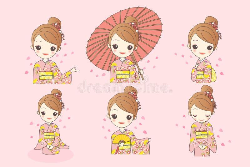 Японская девушка кимоно носки иллюстрация штока