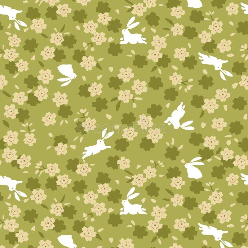 Японская зеленая картина вишневого цвета и кролика бесплатная иллюстрация