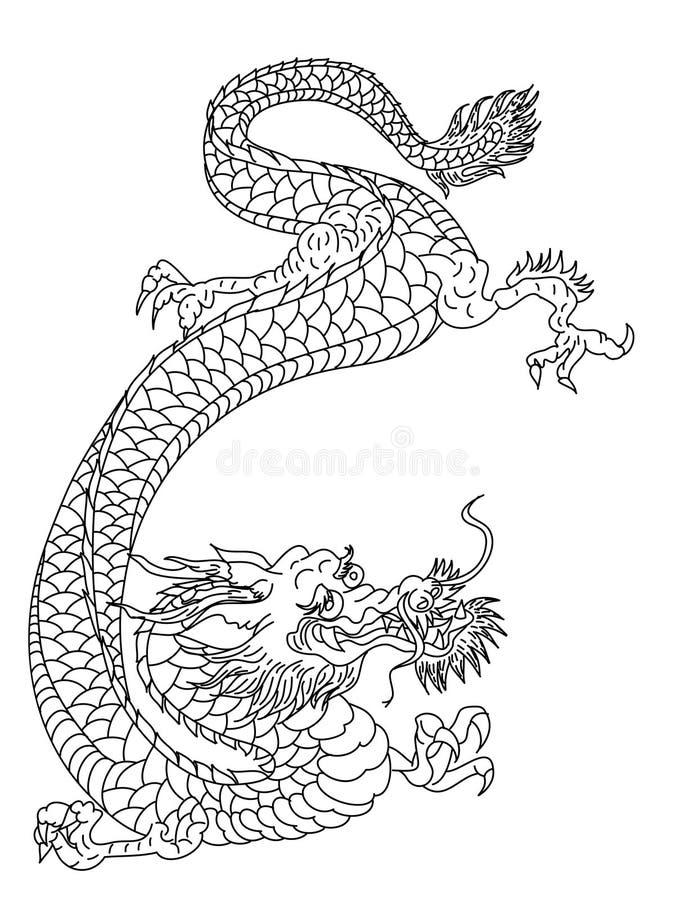 Японская линия чертеж дракона на белой предпосылке Вектор татуировки дракона иллюстрация вектора